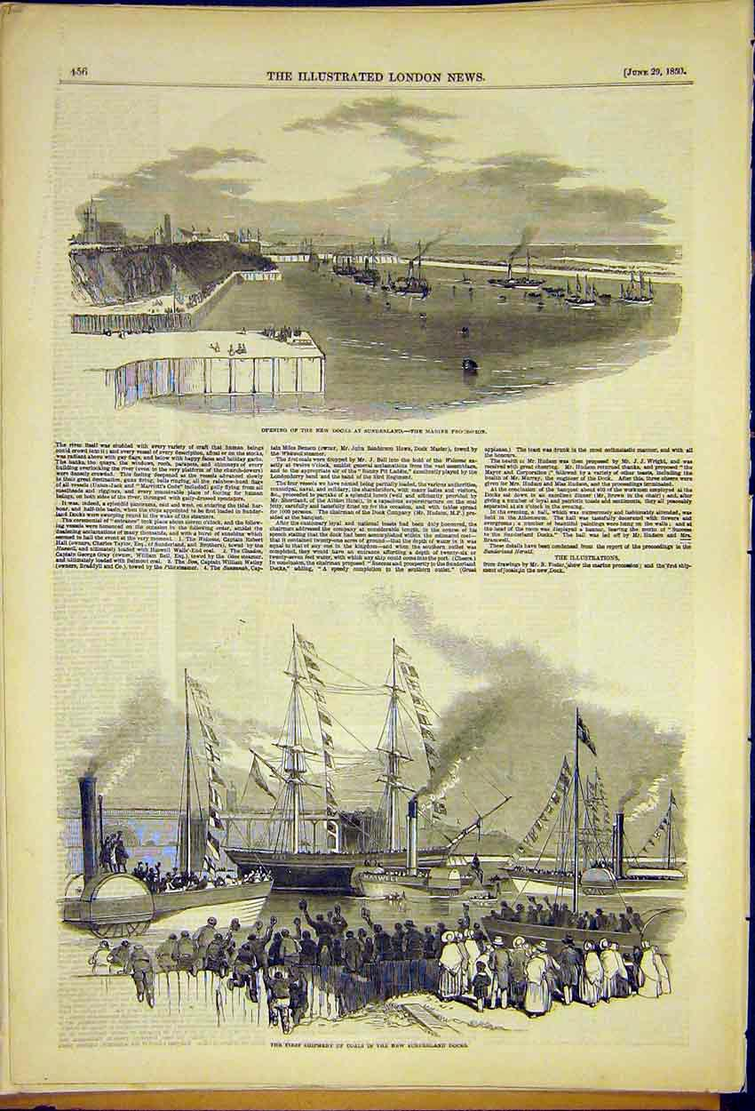 Print Opening New Docks Sunderland Coal Shipment First 1850 56Ccc0 Old Original