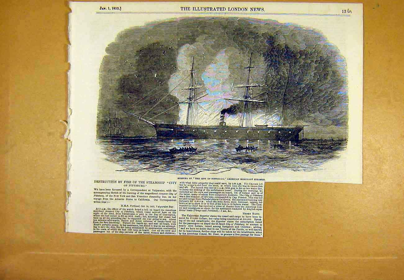 Print City Pittsburg Ship American Merchant Steamer Fire 1853 13Uccc0 Old Original