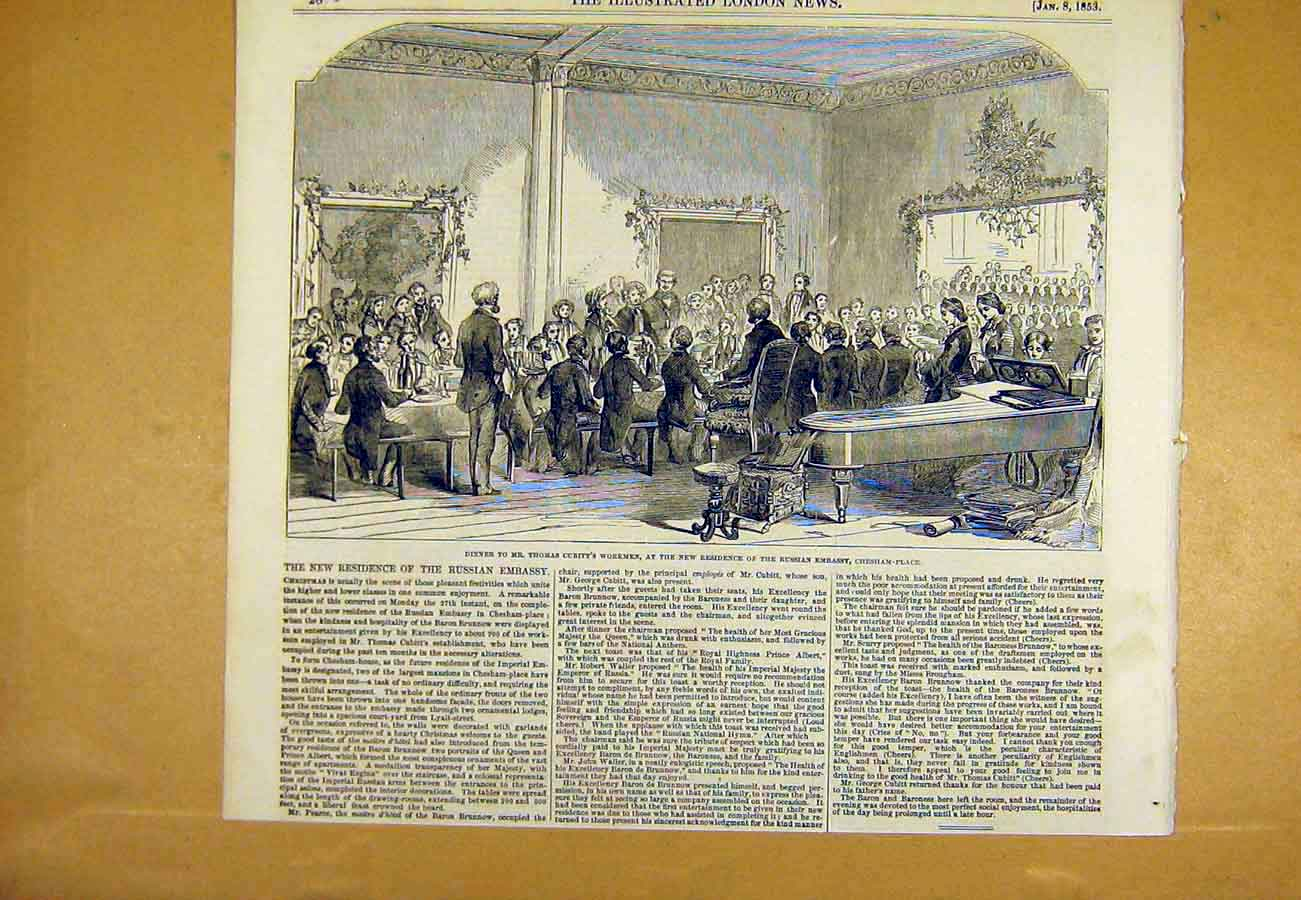 Print Cubitt Work-Men Russian Embassy Chesham Place 1853 28Uccc0 Old Original