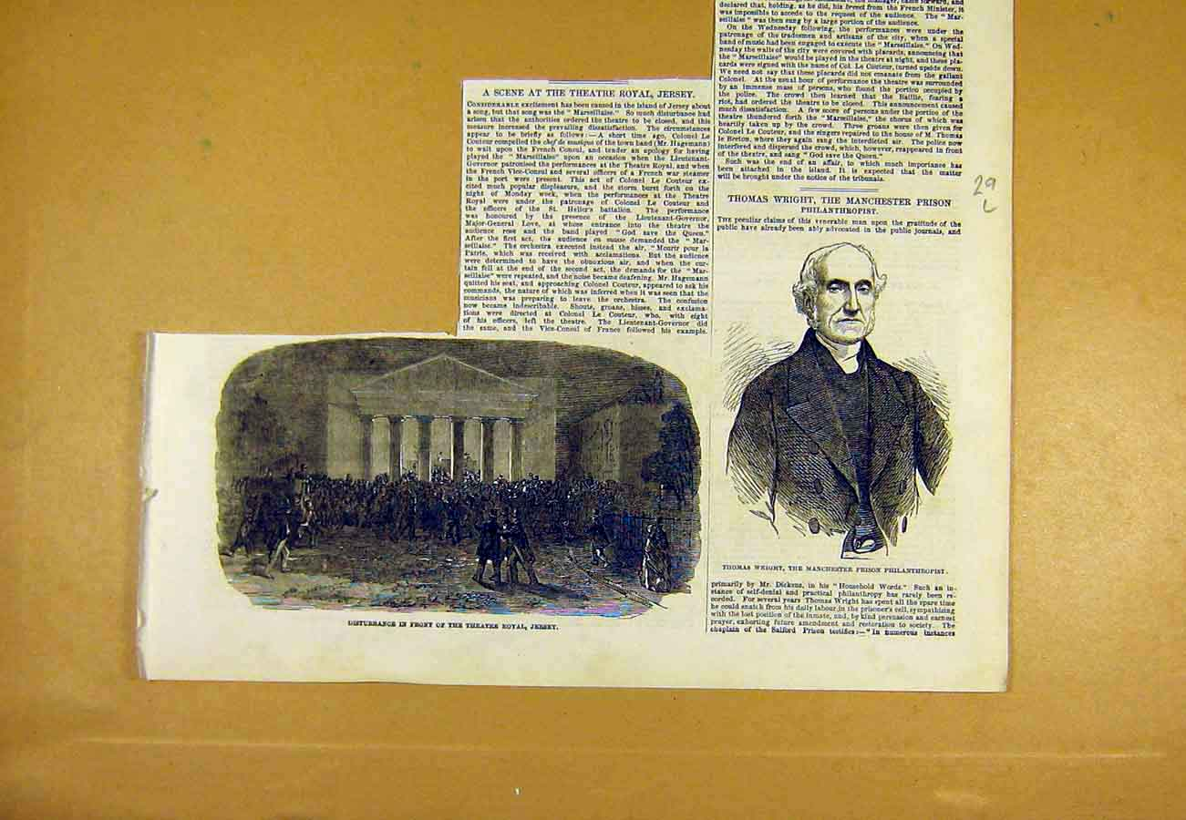 Print Thatre Royal Jersey Wright Prison Philanthropist 1853 29Lccc0 Old Original