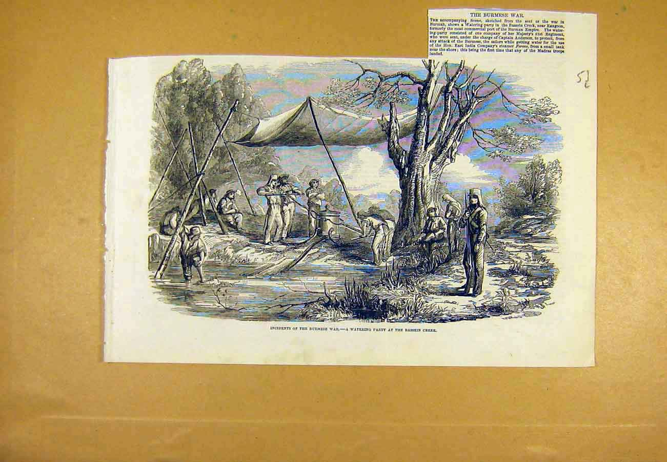 Print Burmese War Watering-Party Bassein Creek 1853 53Lccc0 Old Original
