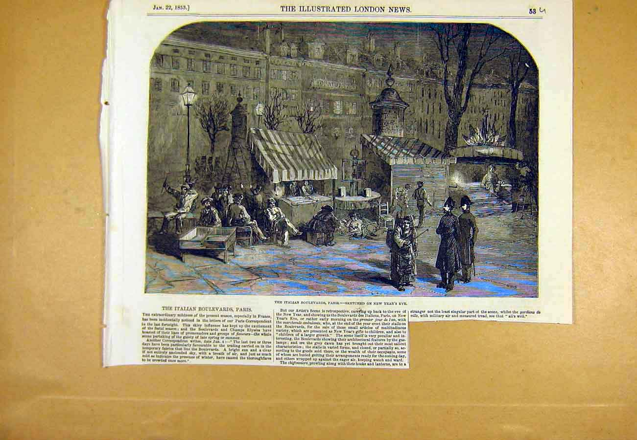 Print Italian Boulevards Paris France New-Year Sketch 1853 53Uccc0 Old Original