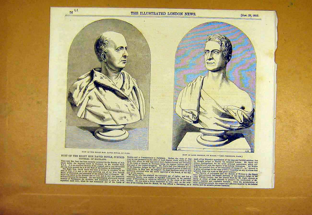 Print Bust Boyle Park Denman Moore Statue 1853 76Uccc0 Old Original