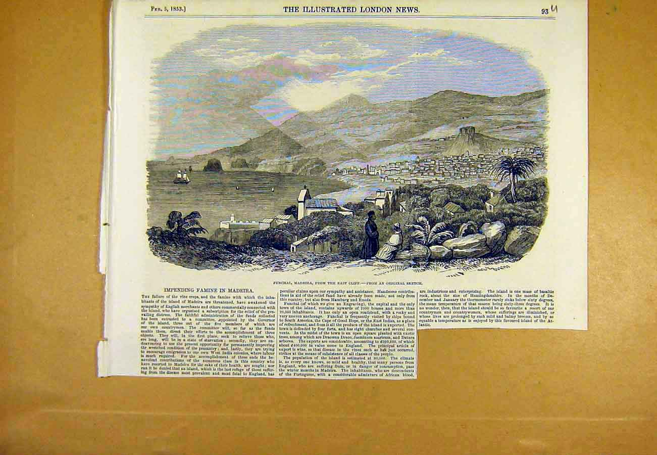 Print Funchal Madeira Spain View Spanish 1853 93Uccc0 Old Original