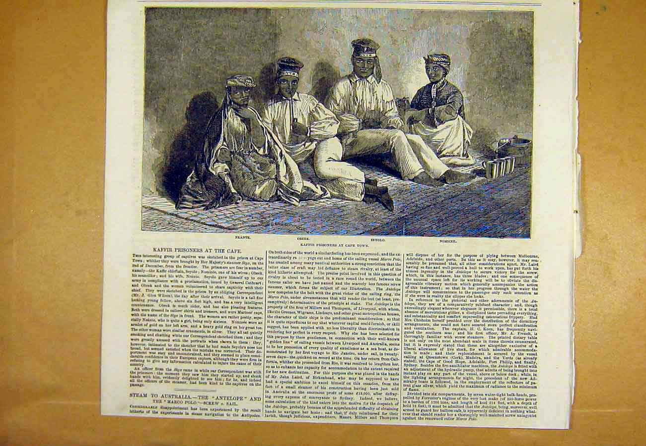 Print Kaffir Prisoners Cape-Town South-Africa 1853 96Uccc0 Old Original