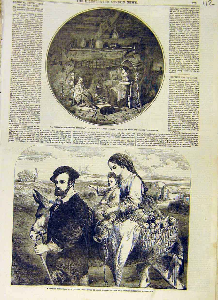 Print Wiltshire Cottage Provis Gilbert Spanish Landscape 1853 12Ccc0 Old Original