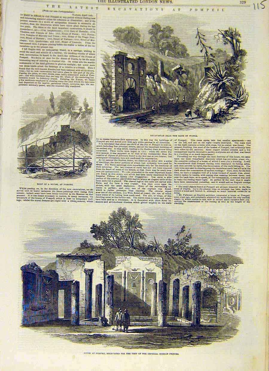 Print Pompeii Ruins Excavations House Naples 1853 15Ccc0 Old Original
