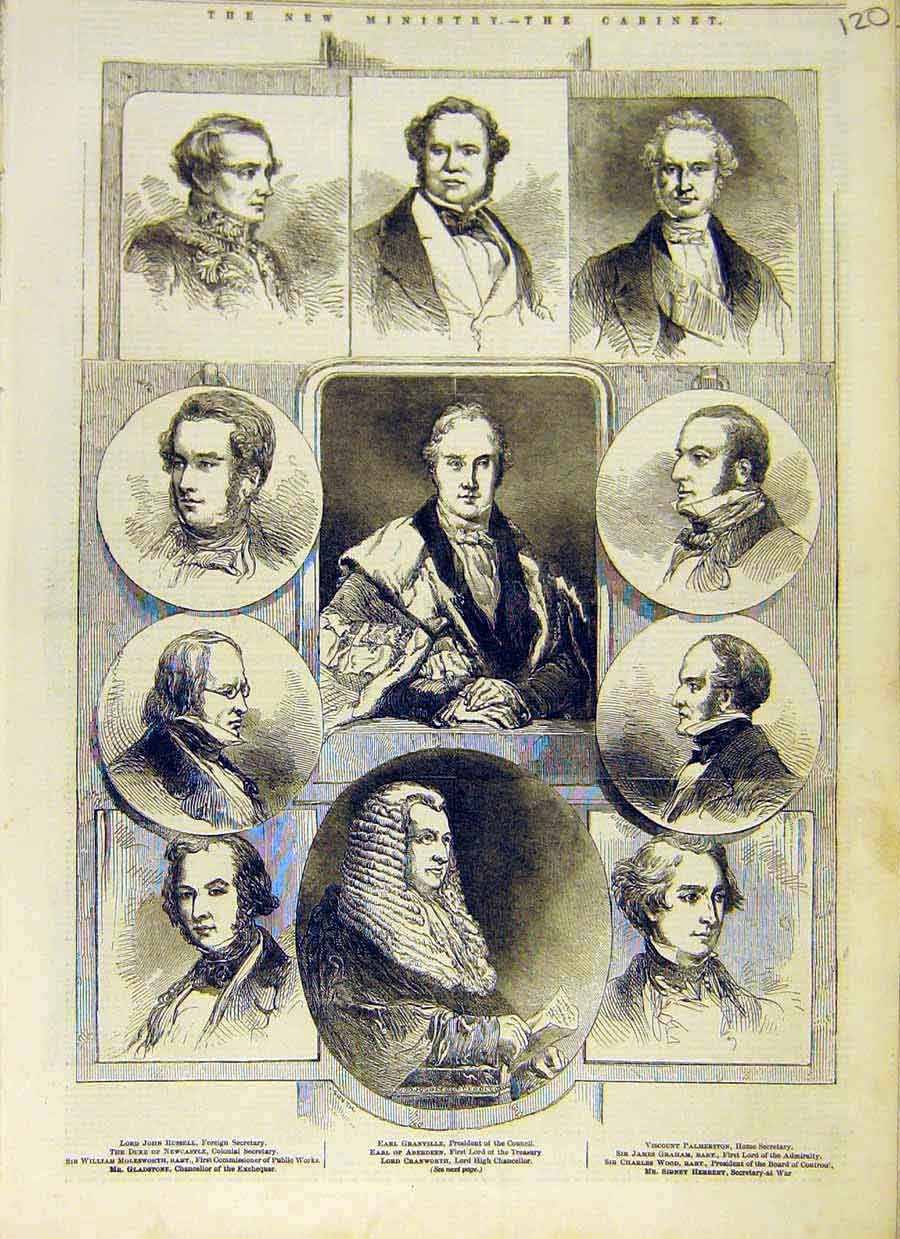 Print Ministry Cabinet Members Portait Earl Lord 1853 20Ccc0 Old Original
