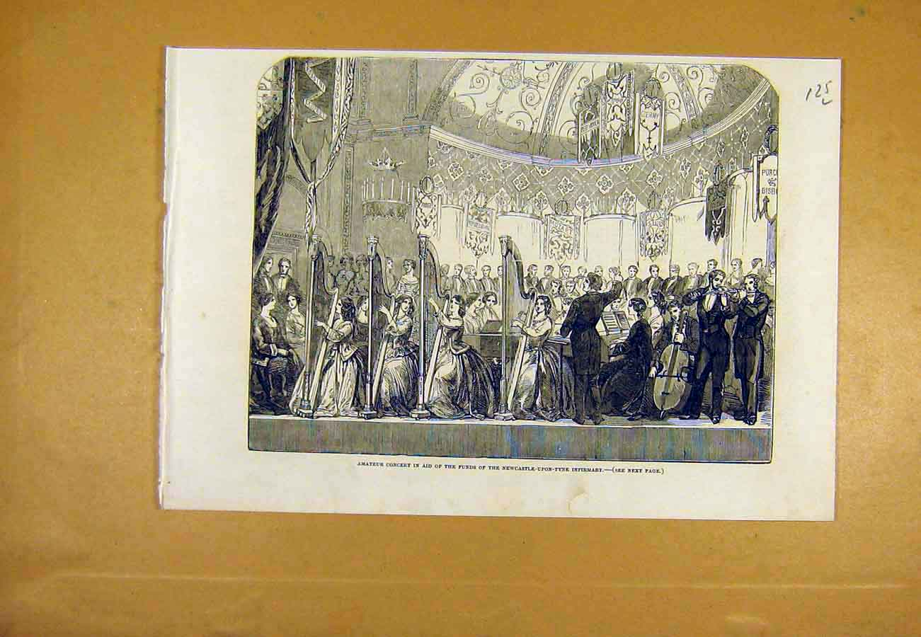 Print Amateur Concert Newcastle-Upon-Tyne Infirmary 1853 25Lccc0 Old Original