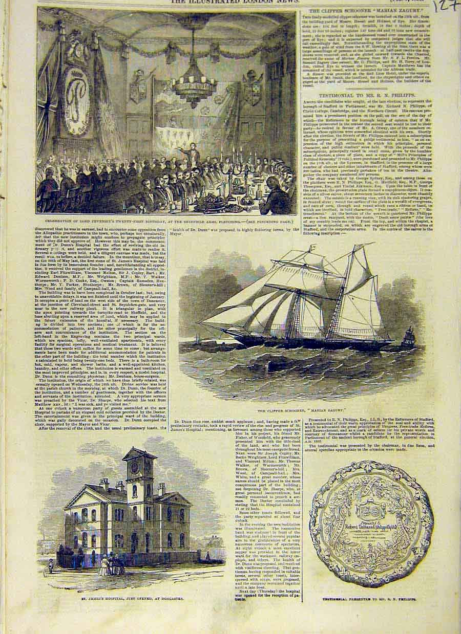 Print Pevensey Fletching Clipper Marian Zagury Doncaster 1853 27Ccc0 Old Original