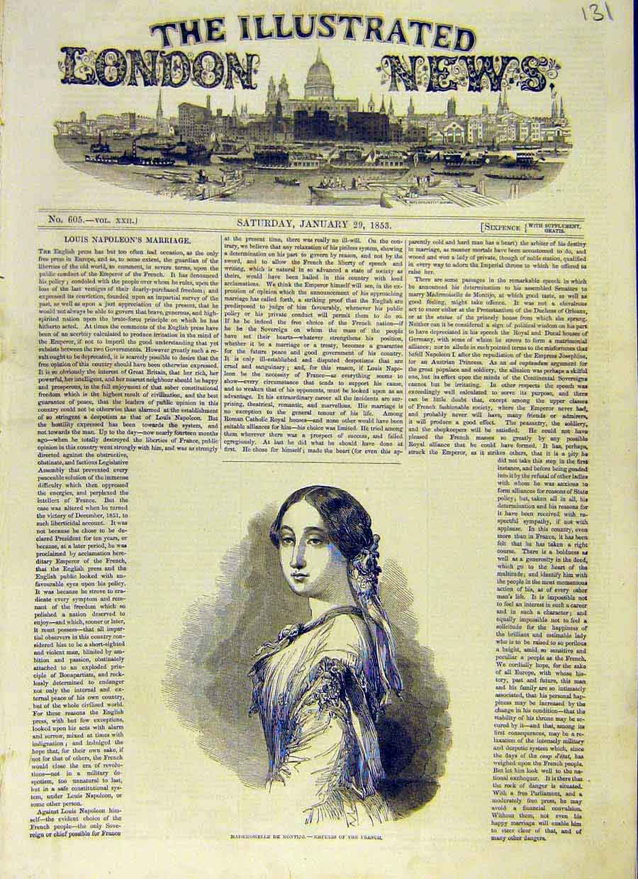 Print Portrait Mademoiselle Montijo French Empress 1853 31Ccc0 Old Original