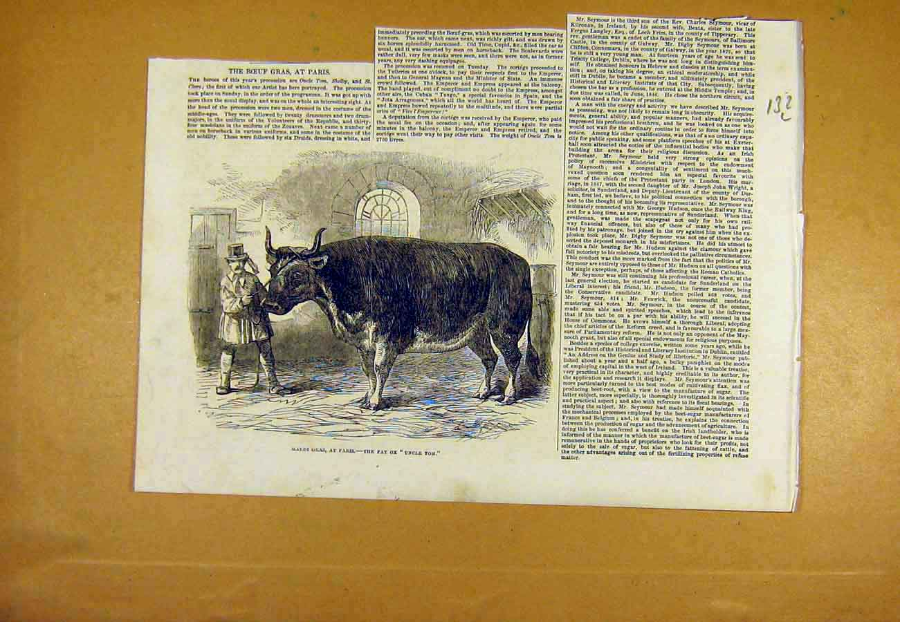 Print Mardi-Gras Paris France Ox Uncle-Tom 1853 32Lccc0 Old Original
