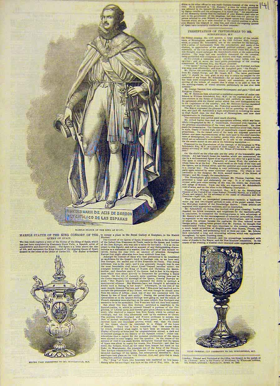 Print Marble Statue King Consort Silver Vase Ruby Cup 1853 41Ccc0 Old Original
