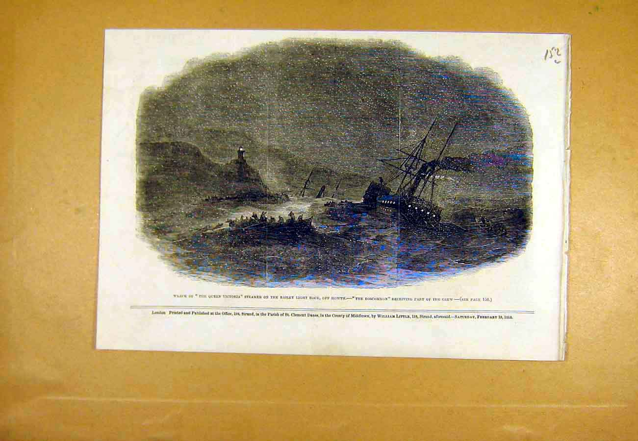 Print Wreck Queen-Victoria Steamer Howth Roscommon 1853 52Lccc0 Old Original