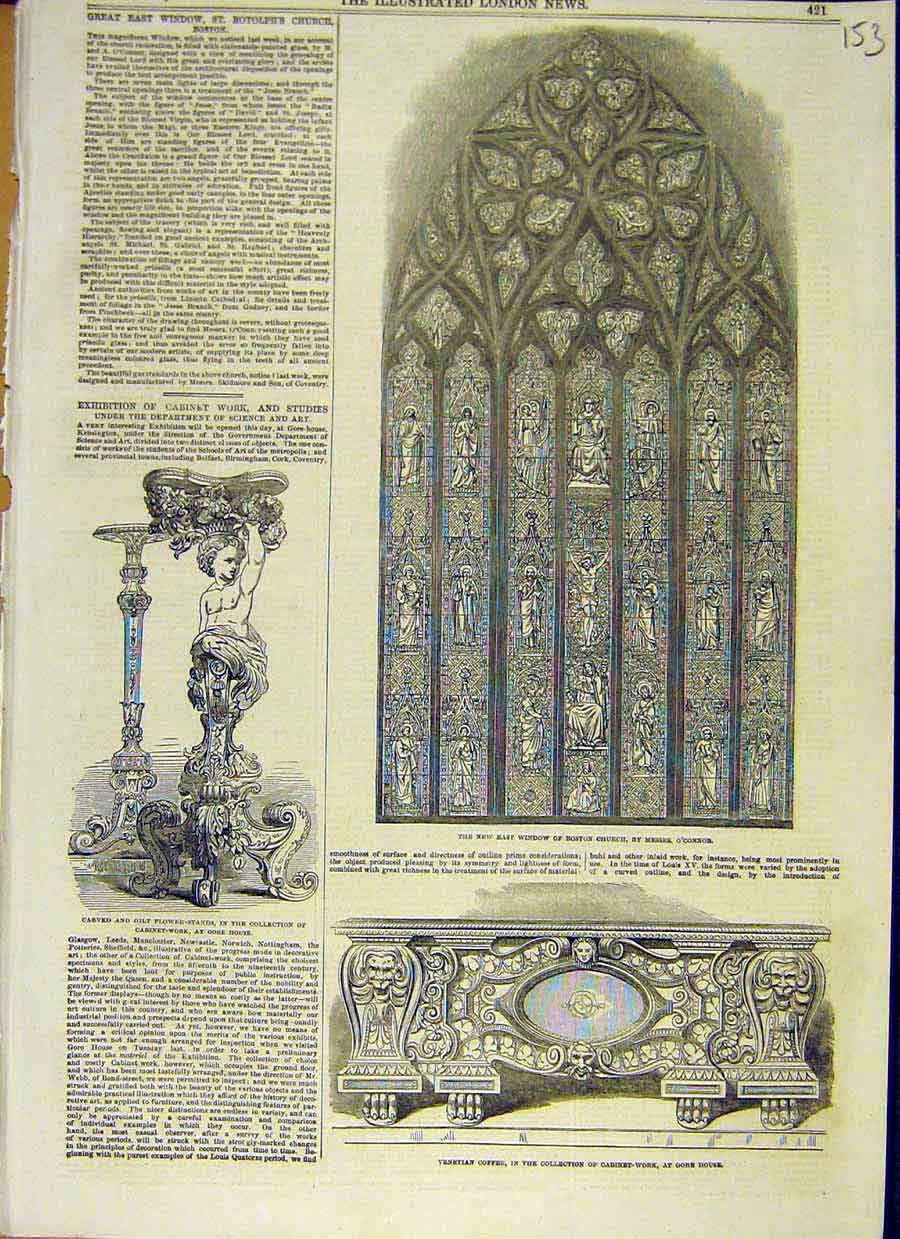 Print Window Church Boston Flower-Stand Gore House Coffer 53Ccc0 Old Original