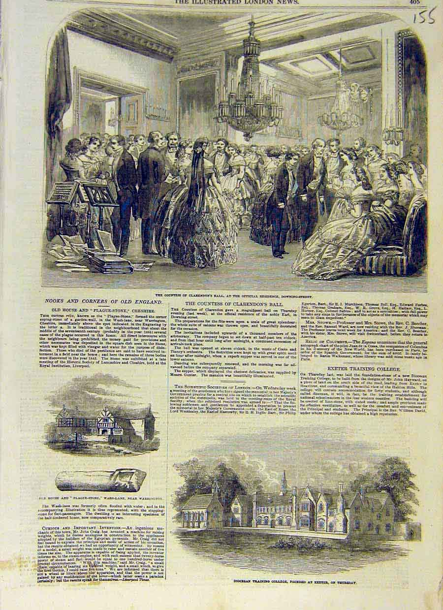 Print Clarendon Ball Plague-Stone Warrington Diocesan Exeter 55Ccc0 Old Original