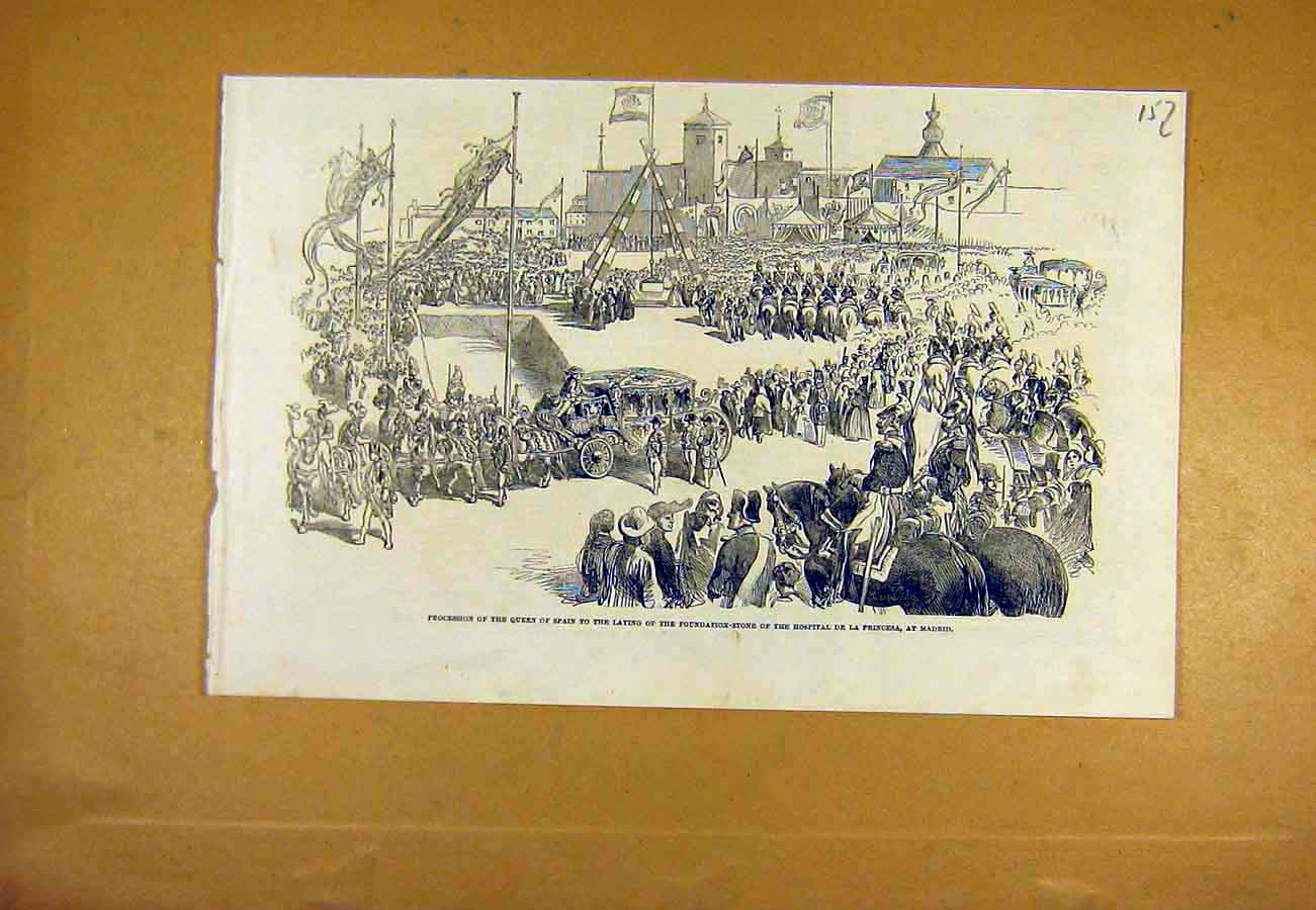 Print Procession Queen Spain Madrid Hospital Stone 1853 57Lccc0 Old Original