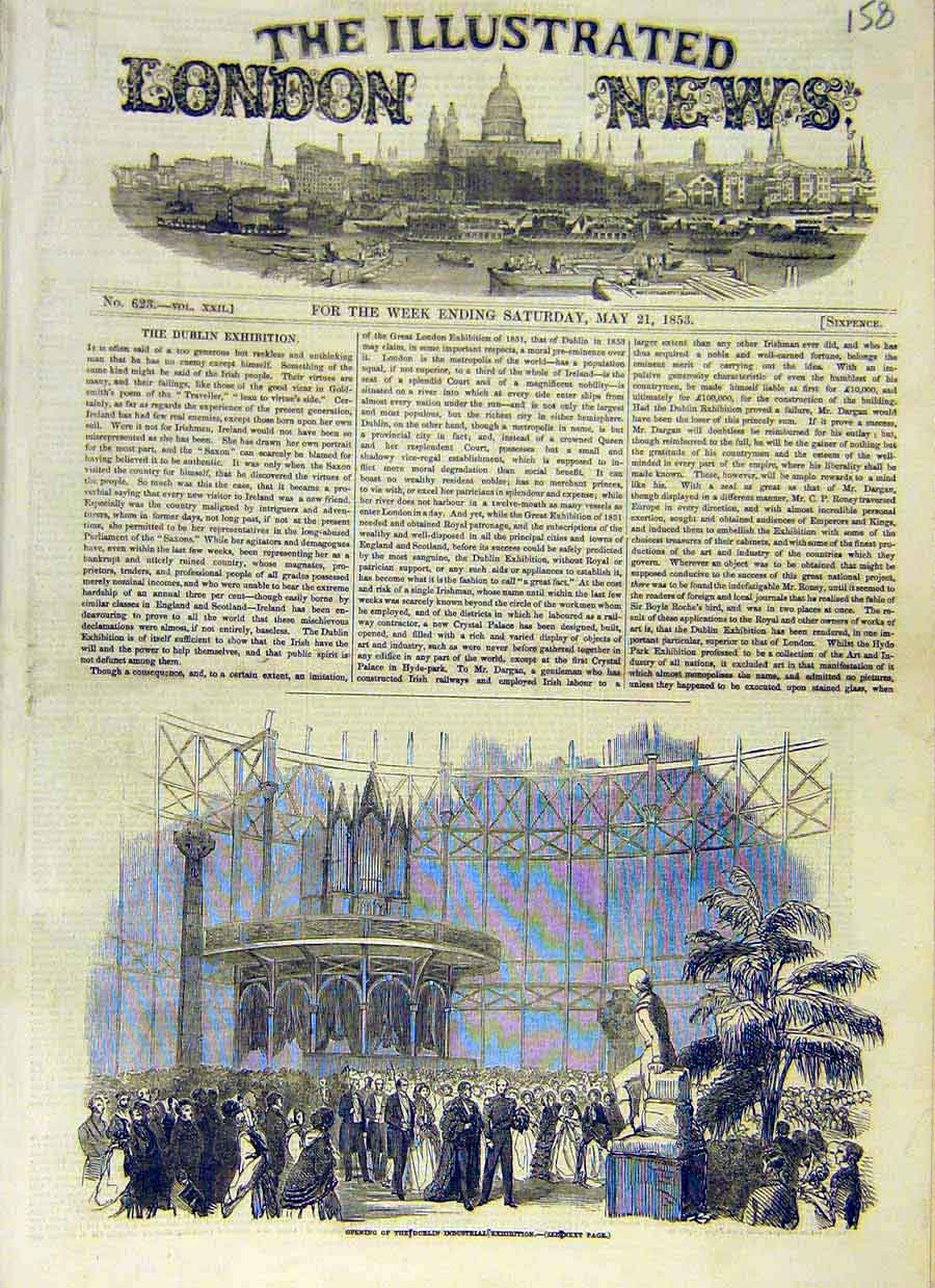 Print Dublin Industrial Exhibition Opening Ireland 1853 58Ccc0 Old Original
