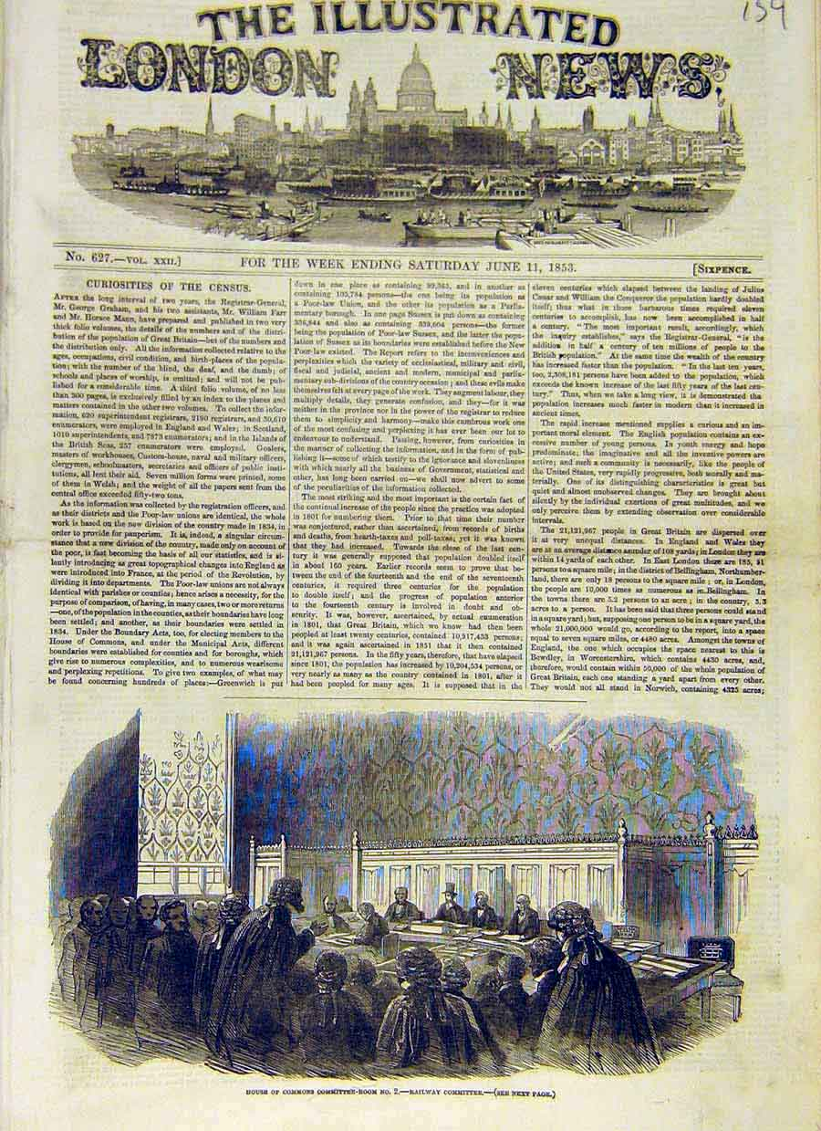 Print House Commons Committee Room Railway 1853 59Ccc0 Old Original