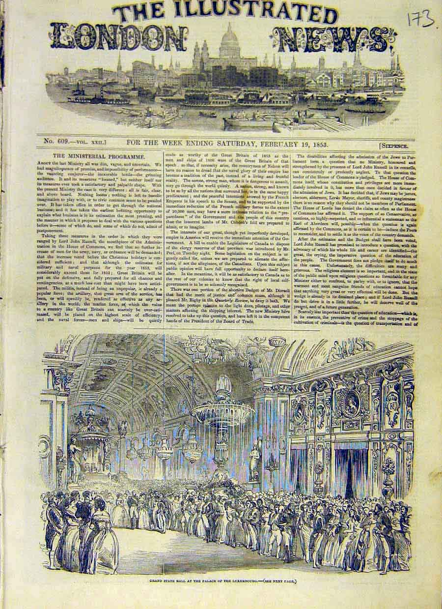 Print State-Ball Palace Luxembourg People 1853 73Ccc0 Old Original