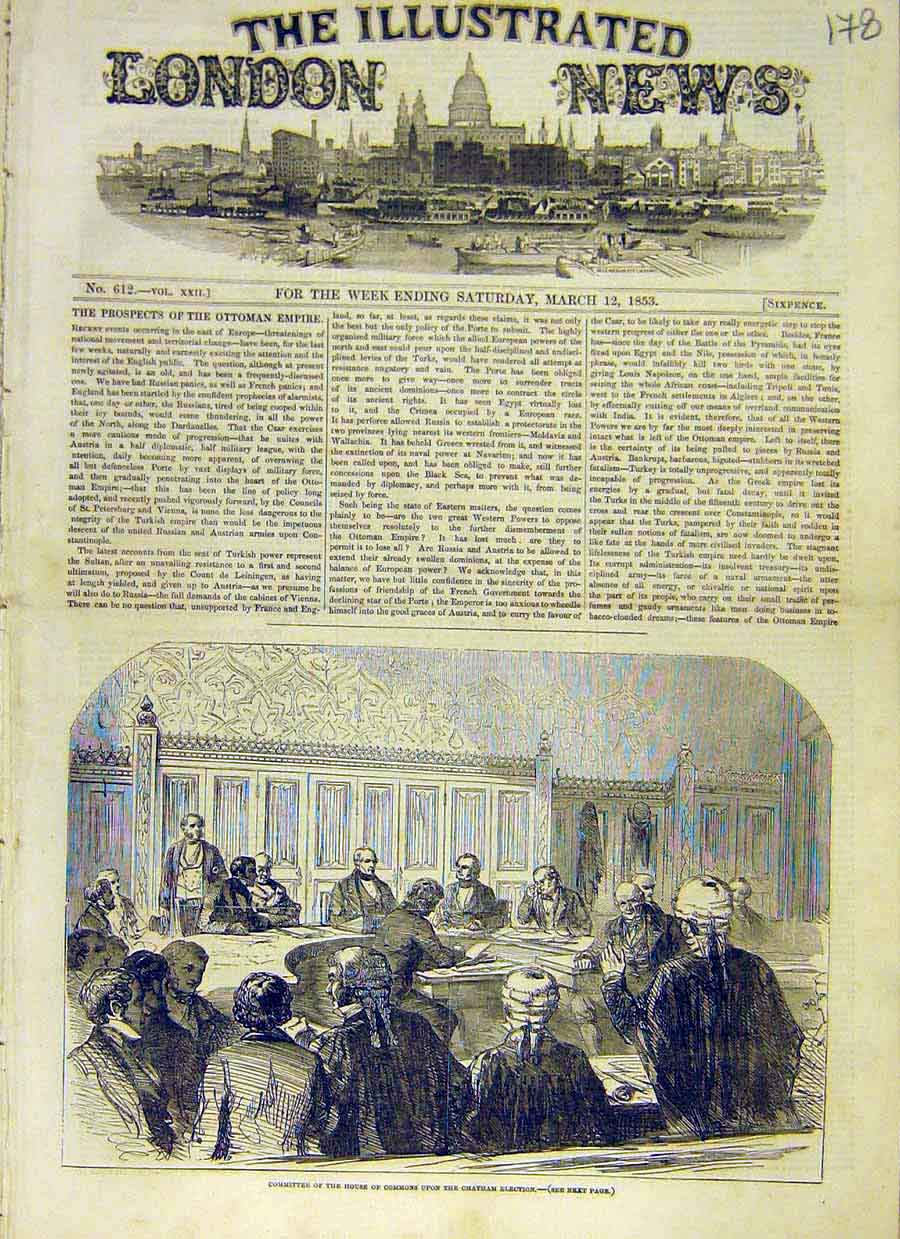 Print Committee House Commons Chatham Election 1853 78Ccc0 Old Original