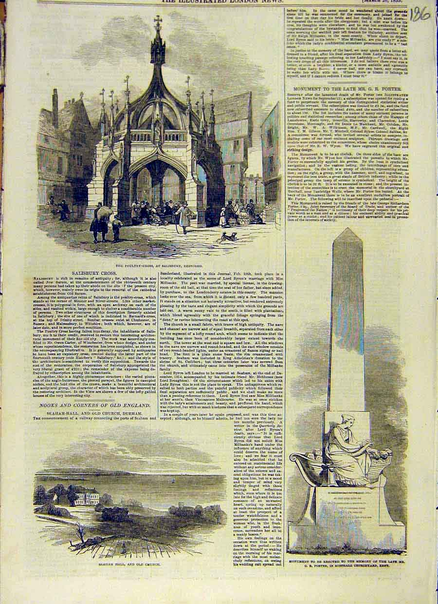Print Poultry-Cross Salisbury Seahm Hall Church Rusthall 1853 86Ccc0 Old Original