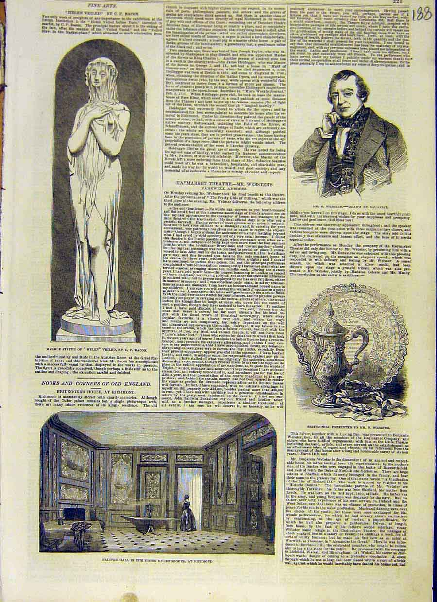 Print Statue Helen Bacon Webster Richmond Heidegger 1853 88Ccc0 Old Original