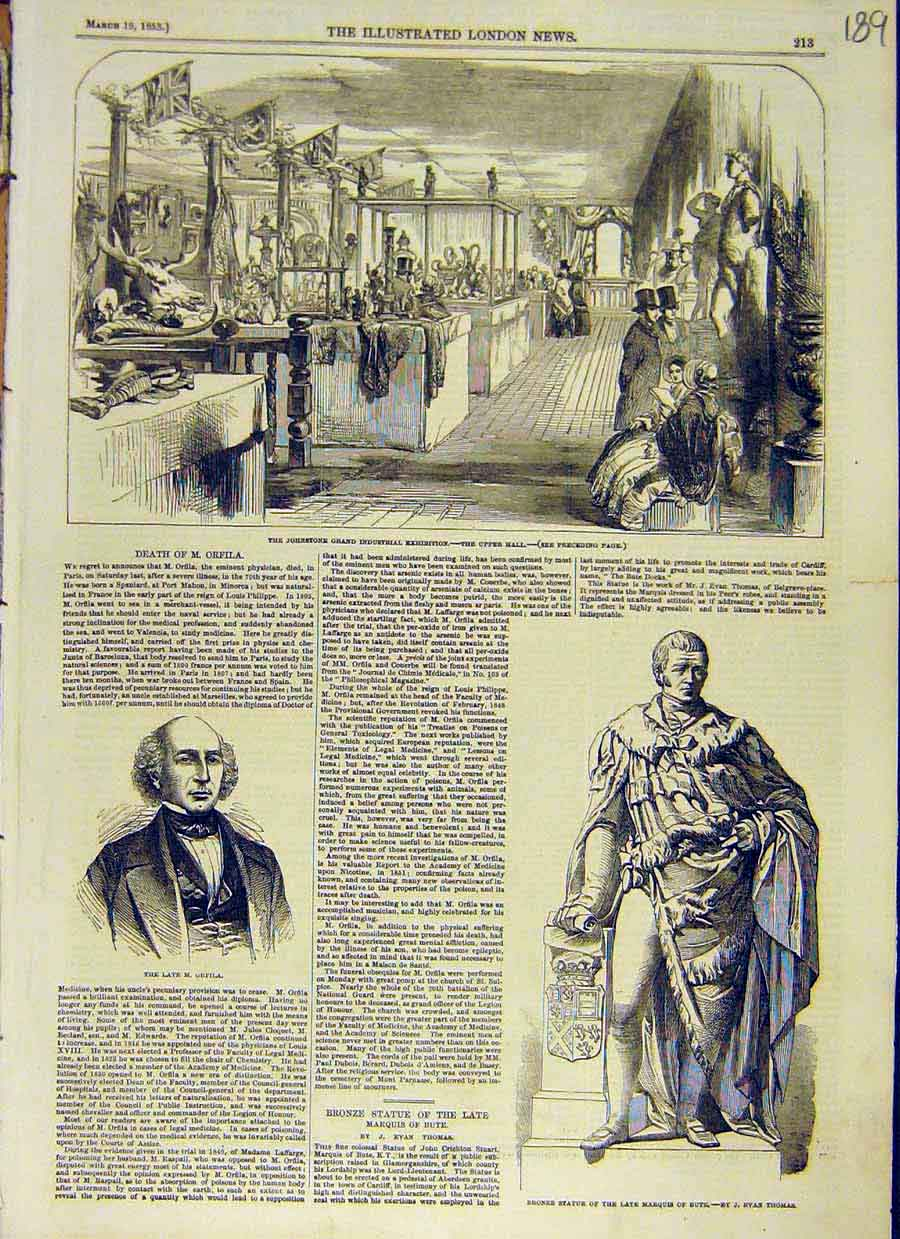 Print Johnstone Industrial Exhibition Orfilla Bute 1853 89Ccc0 Old Original