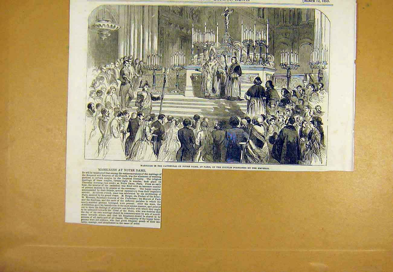 Print Marriage Notre-Dame Cathedral Paris France Emperor 1853 00Uccc0 Old Original