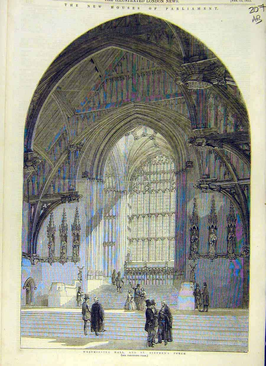 Print Houses-Parliament Building Westminster 1853 07Accc0 Old Original