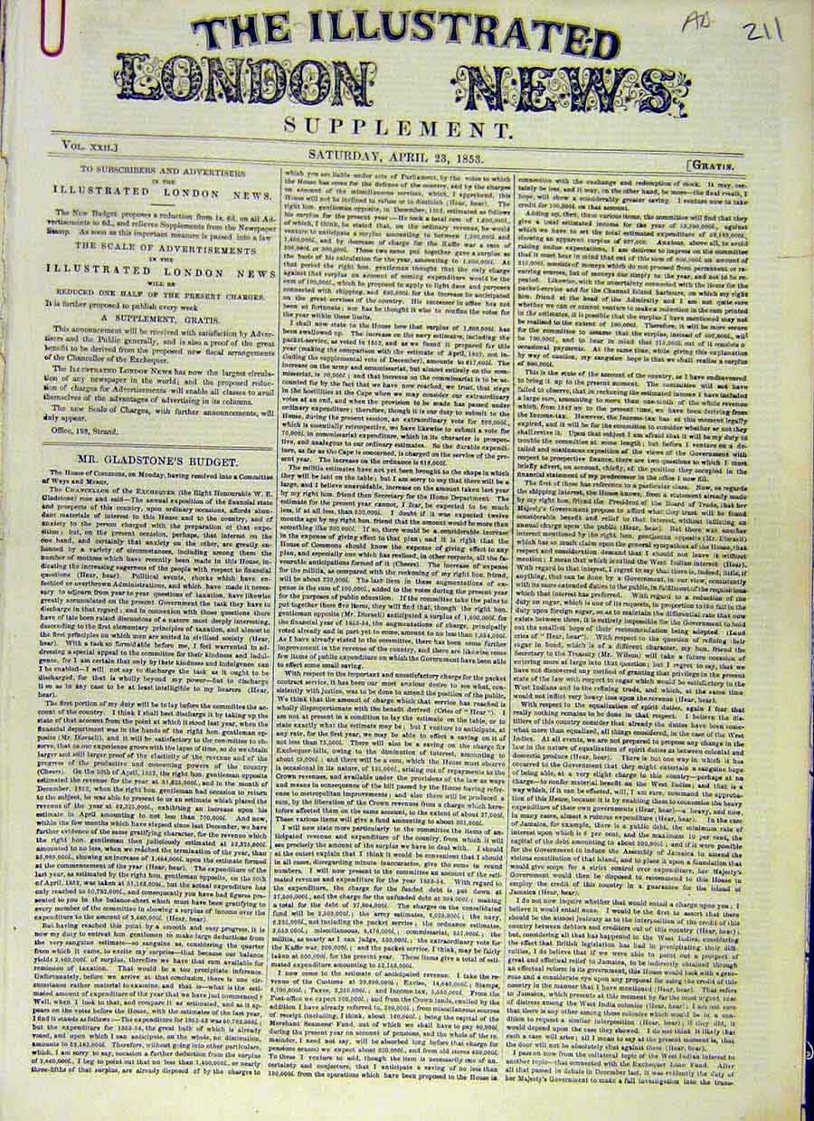 Print Gladstone Budget Details 1853 House Commons 11Accc0 Old Original