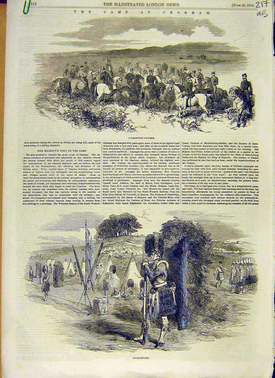 Print Camp Chobham Military Highlander Rifles Officers 1853 17Accc0 Old Original