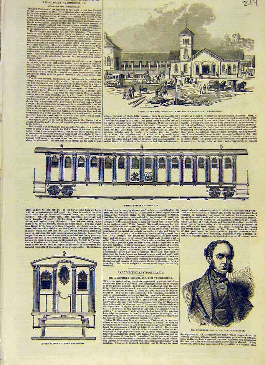 Print Washington Railroad Baltimore United States 1853 19Ccc0 Old Original