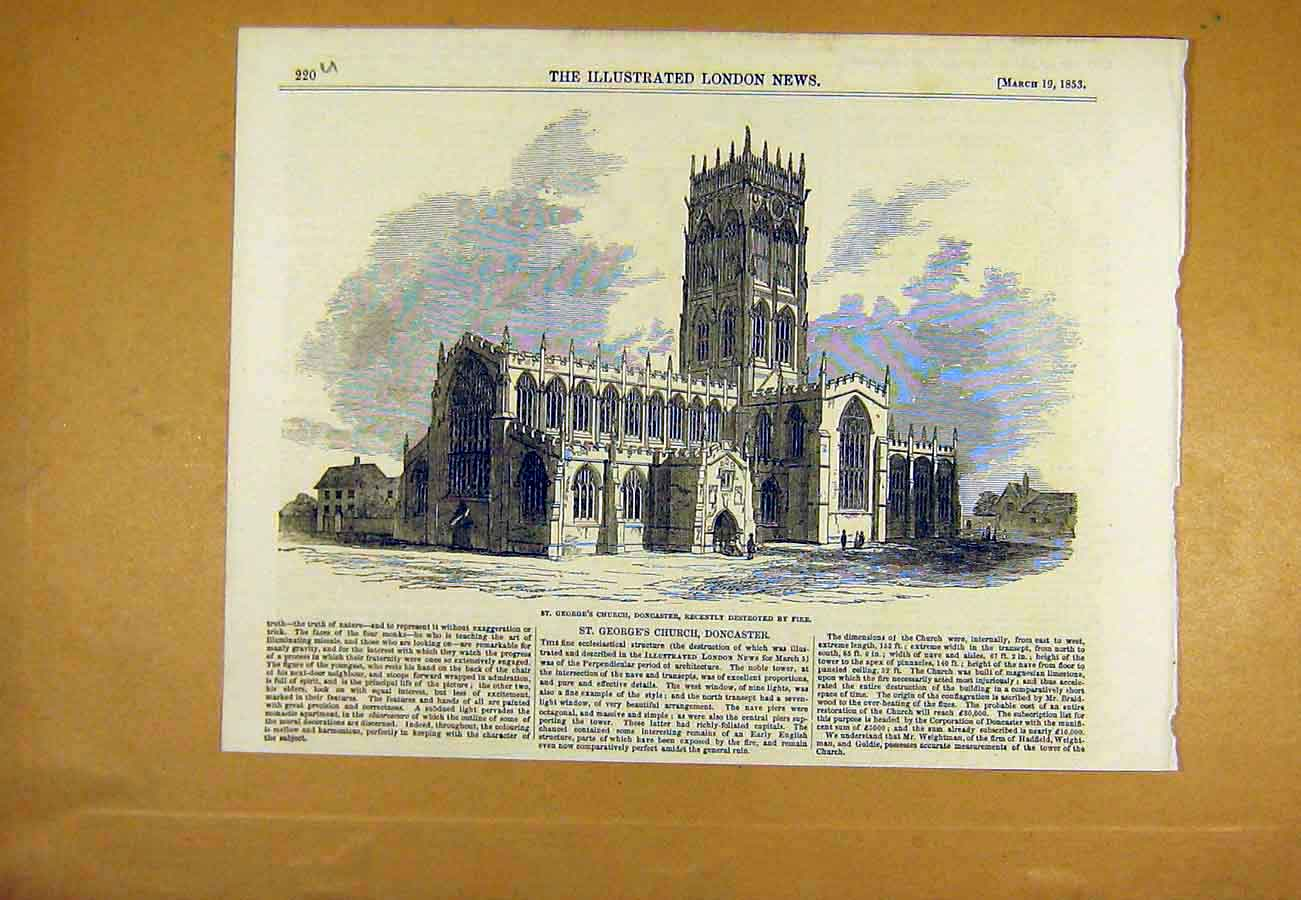 Print St. George'S Church Doncaster Fire Building 1853 20Uccc0 Old Original