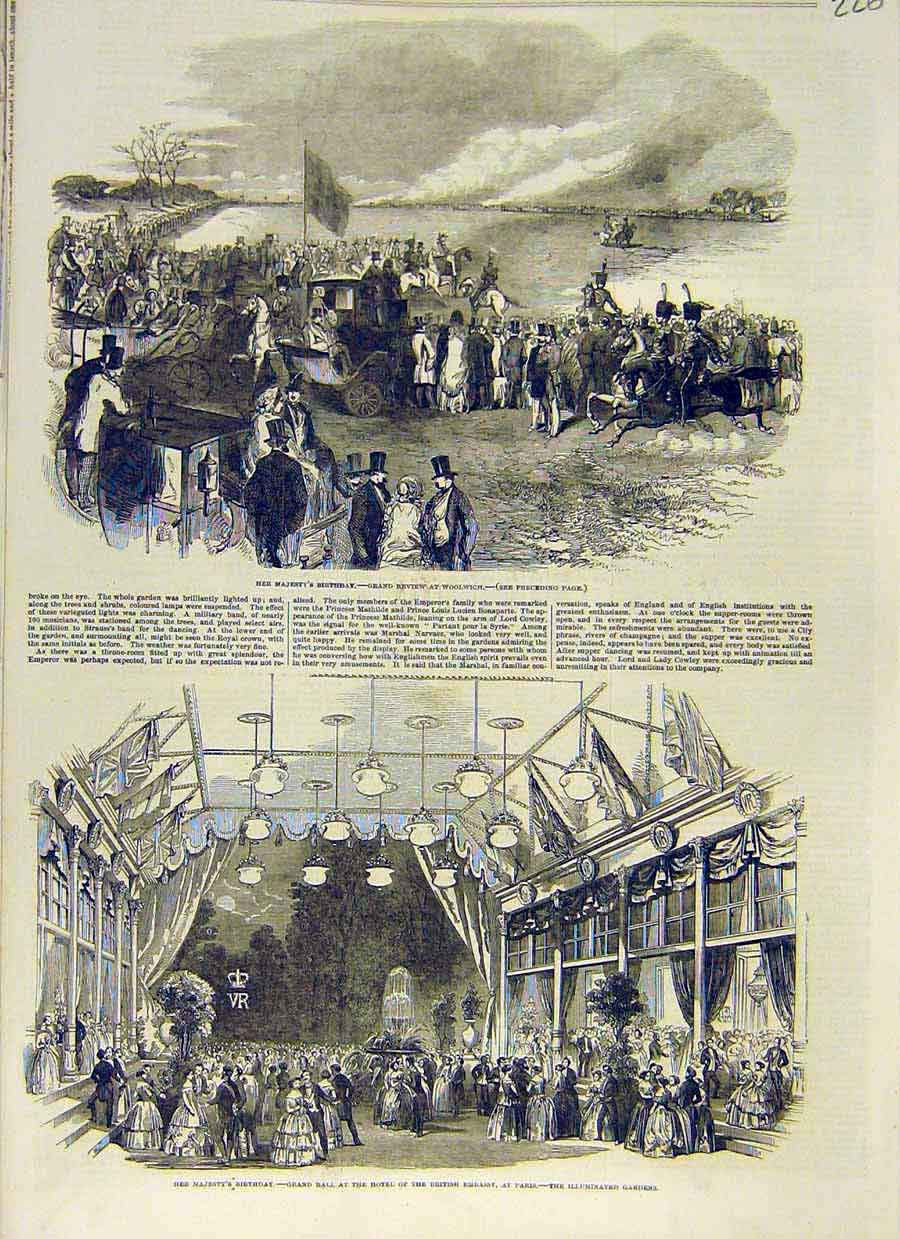 Print Review Woolwich Military Queen Birthday Ball Paris 1853 26Ccc0 Old Original