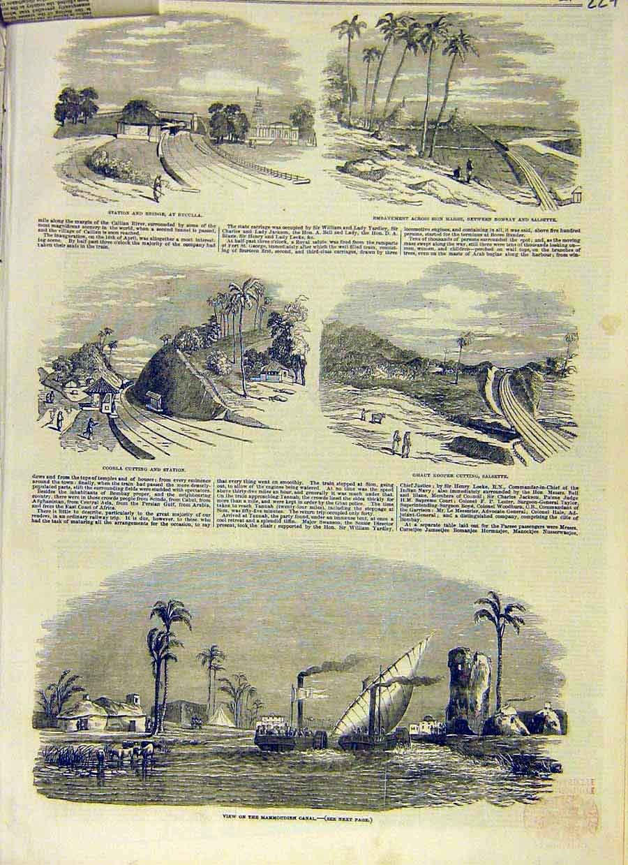 Print India Marmoudieh Canal Salsette Bombay Cooria 1853 27Ccc0 Old Original