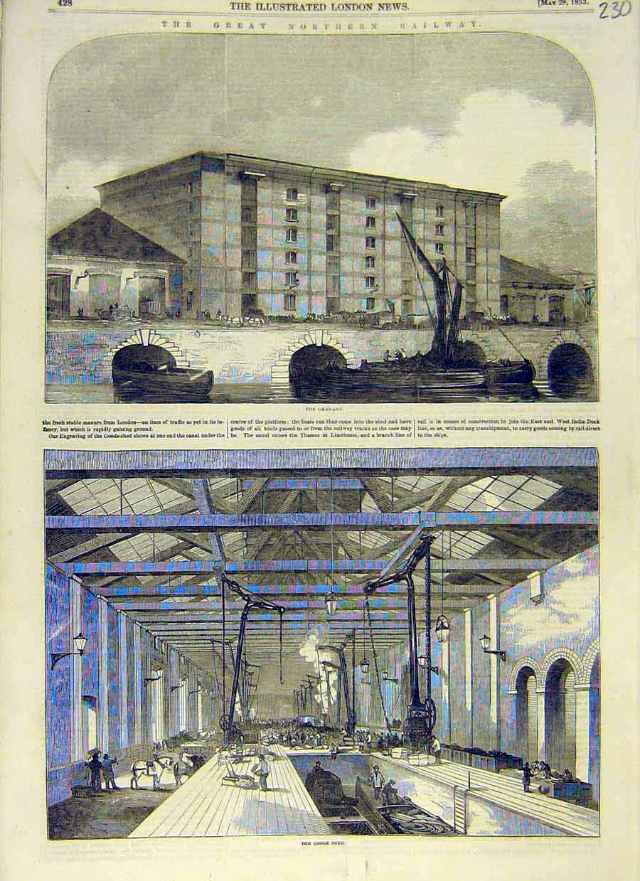Print Great-Northern Railway Granary Goods-Shed 1853 30Ccc0 Old Original