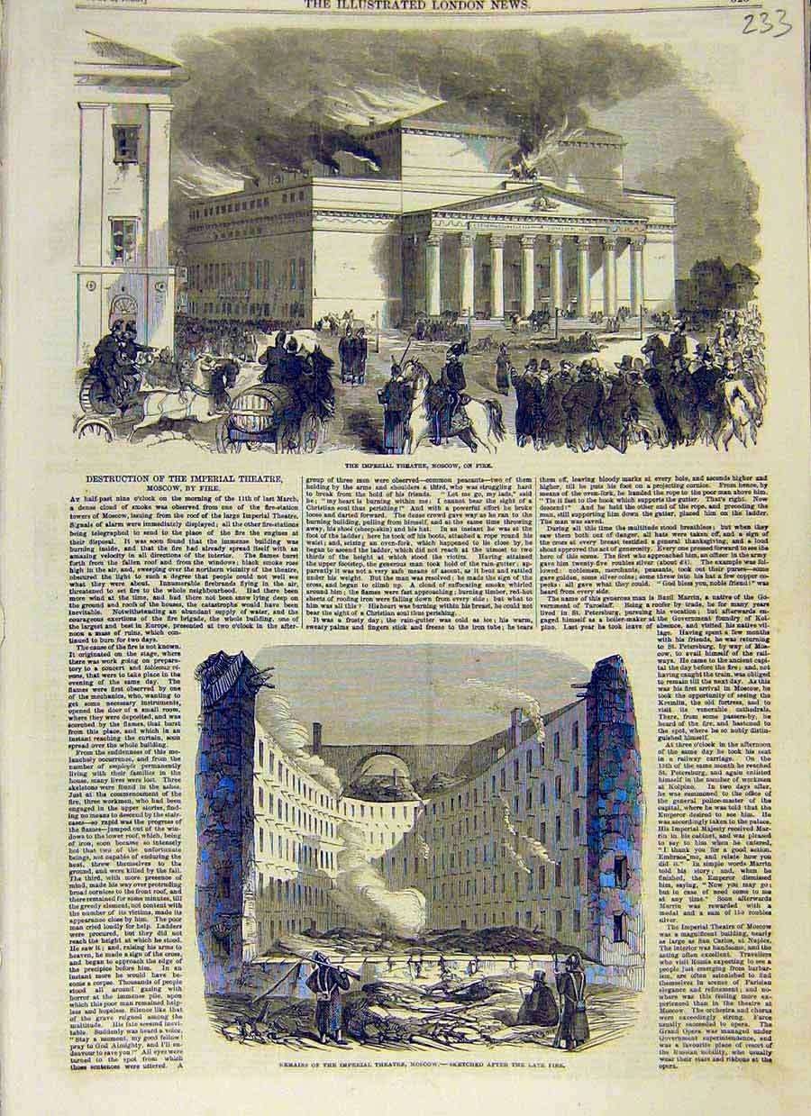 Print Imperial Theatre Moscow Fire Ruins 1853 33Ccc0 Old Original
