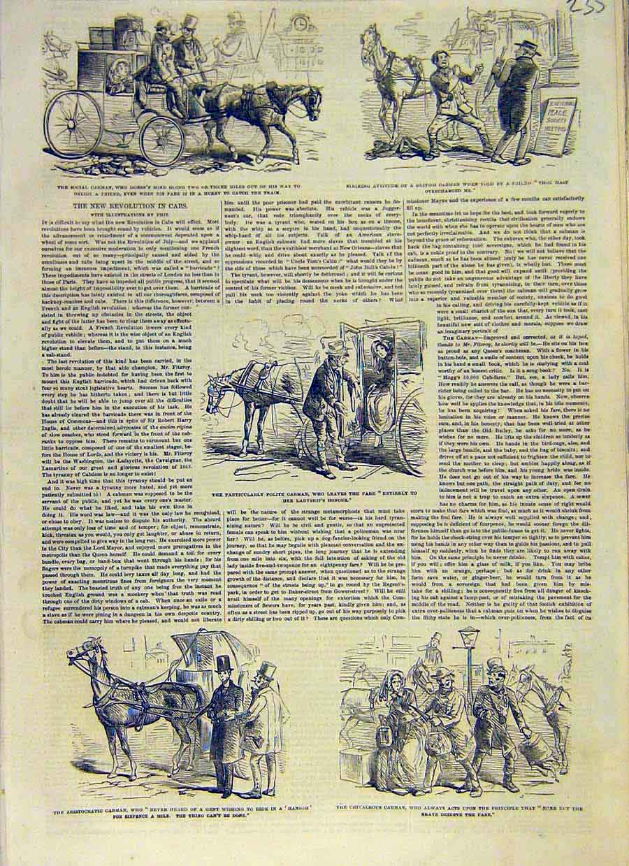 Print Cab-Man Sketches British Carriage Gent Lady 1853 35Ccc0 Old Original