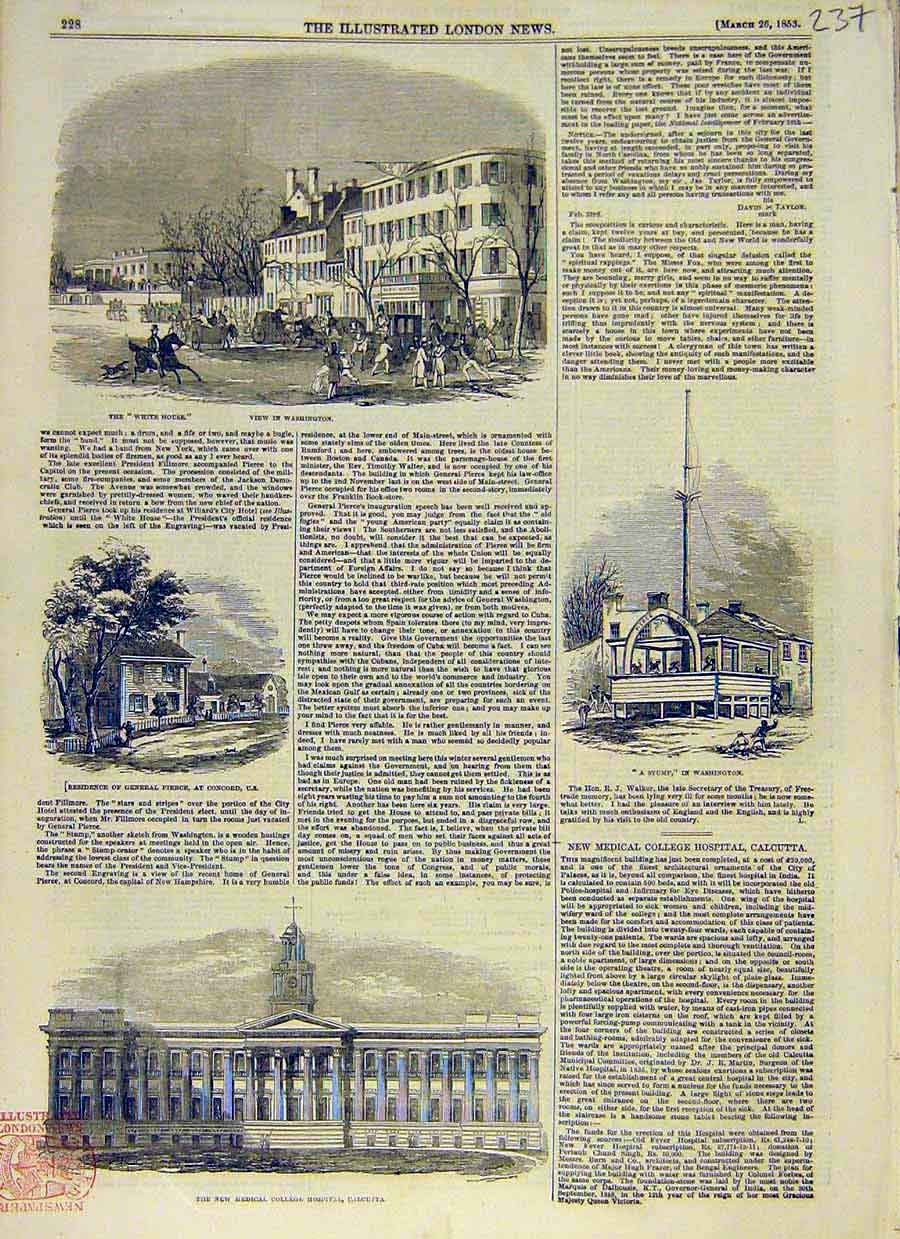 Print Washington America Pierce Medical Calcutta Hospital 37Ccc0 Old Original
