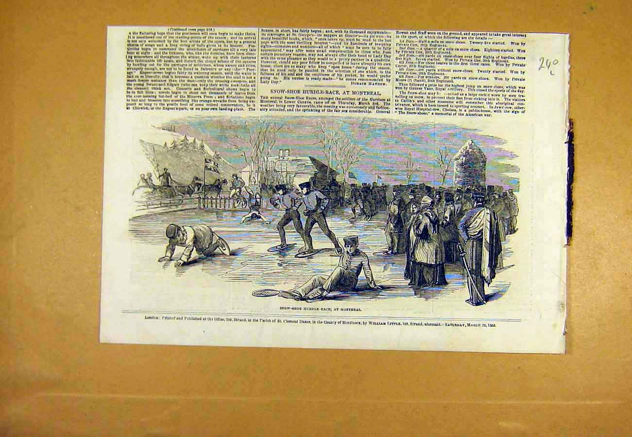 Print Snow-Shoe Hurdle Race Montreal Canada Sport 1853 40Lccc0 Old Original