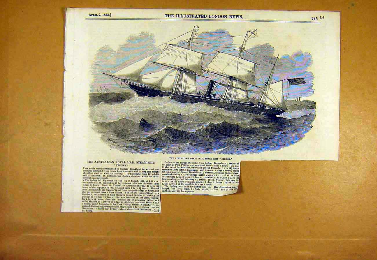 Print Australian Royal-Mail Steam-Ship Sydney 1853 45Uccc0 Old Original