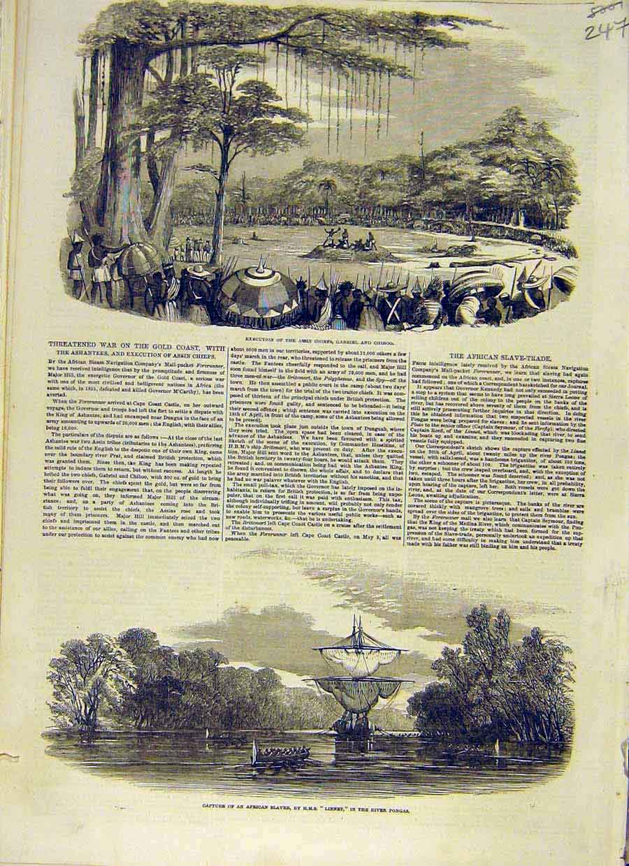 Print Assin Chief Gabriel Chiboo African Slave-Ship 1853 47Ccc0 Old Original