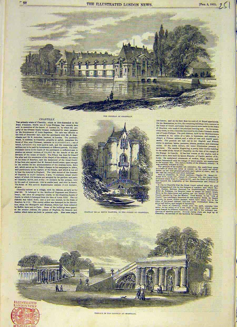 Print Chateau Chantilly Castle Forest Gardens 1853 51Ccc0 Old Original