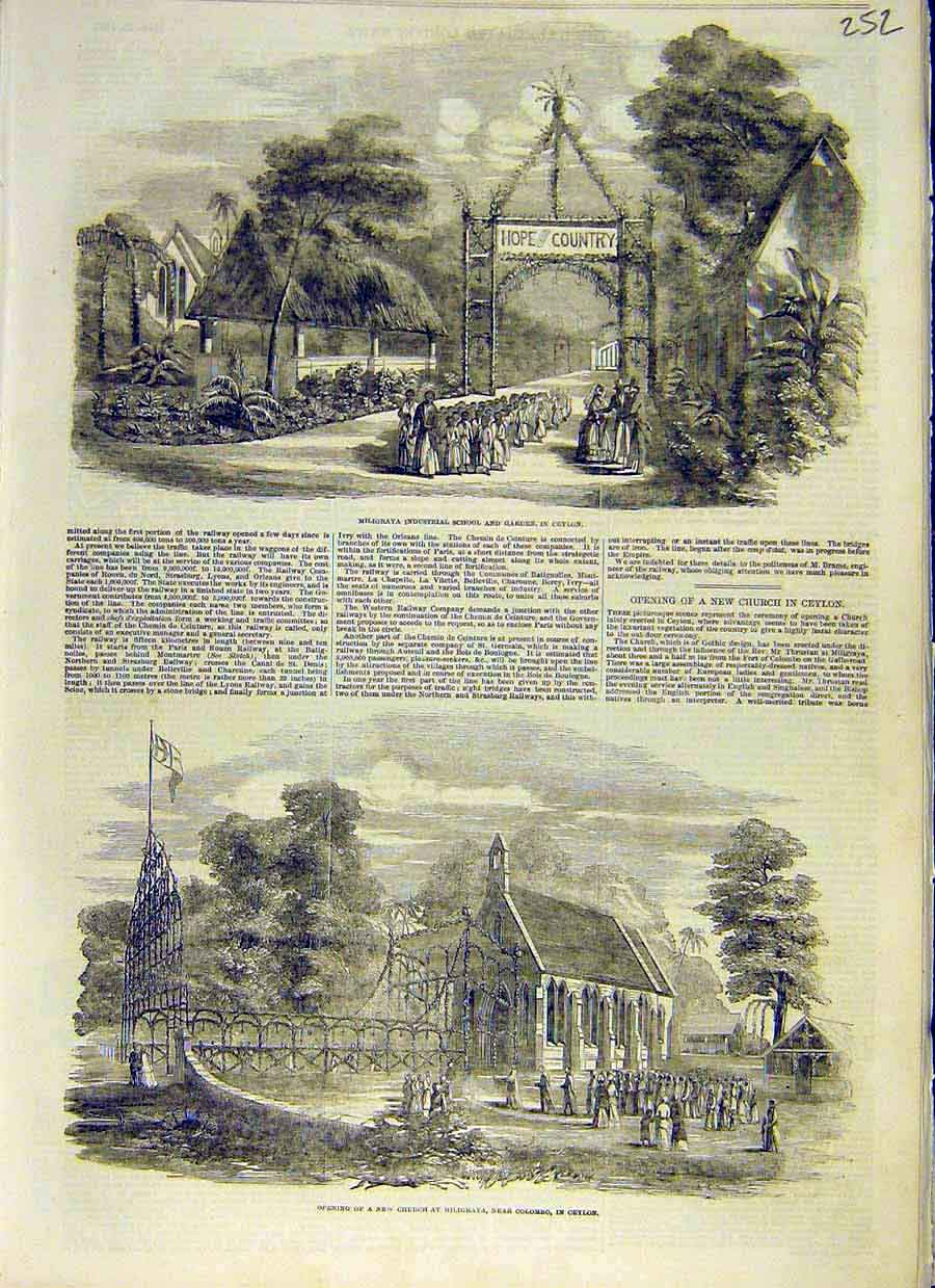 Print Ceylon Industrial School Garden Church Miligraya 1853 52Ccc0 Old Original