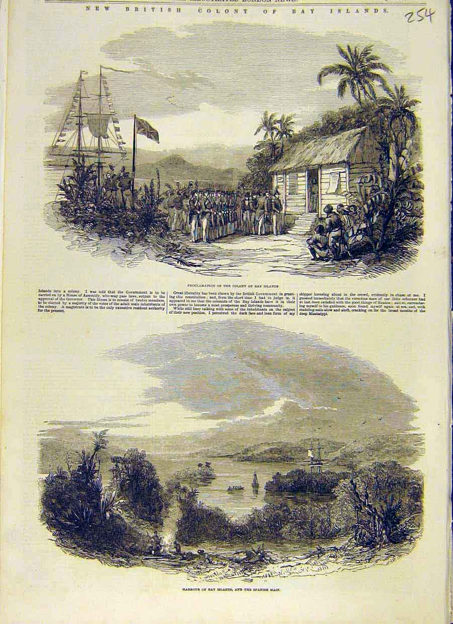 Print British Colony Bay Islands Spanish Main Harbour 1853 54Ccc0 Old Original