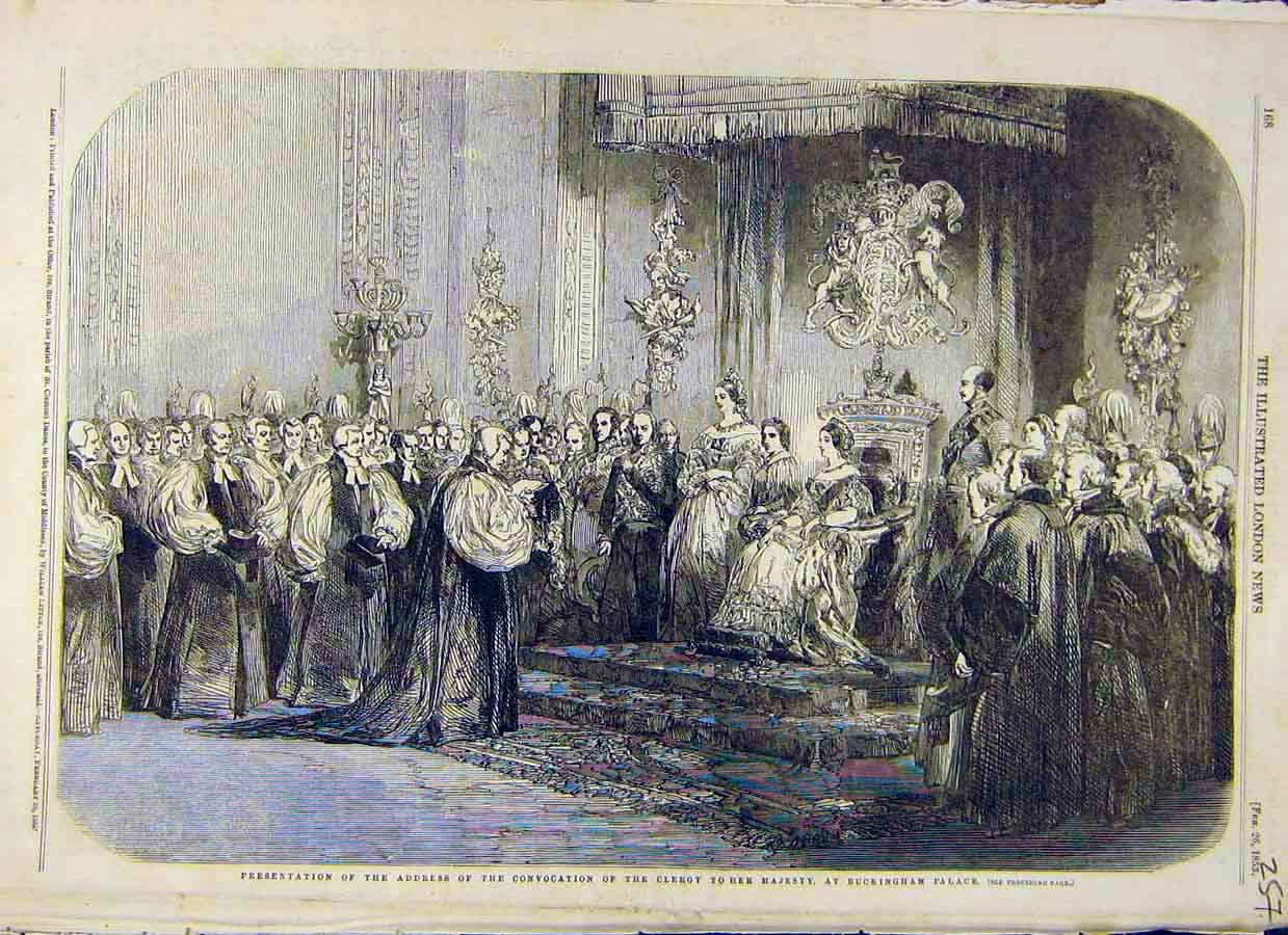 Print Clergy Queen Buckingham Palace Convocation 1853 57Ccc0 Old Original