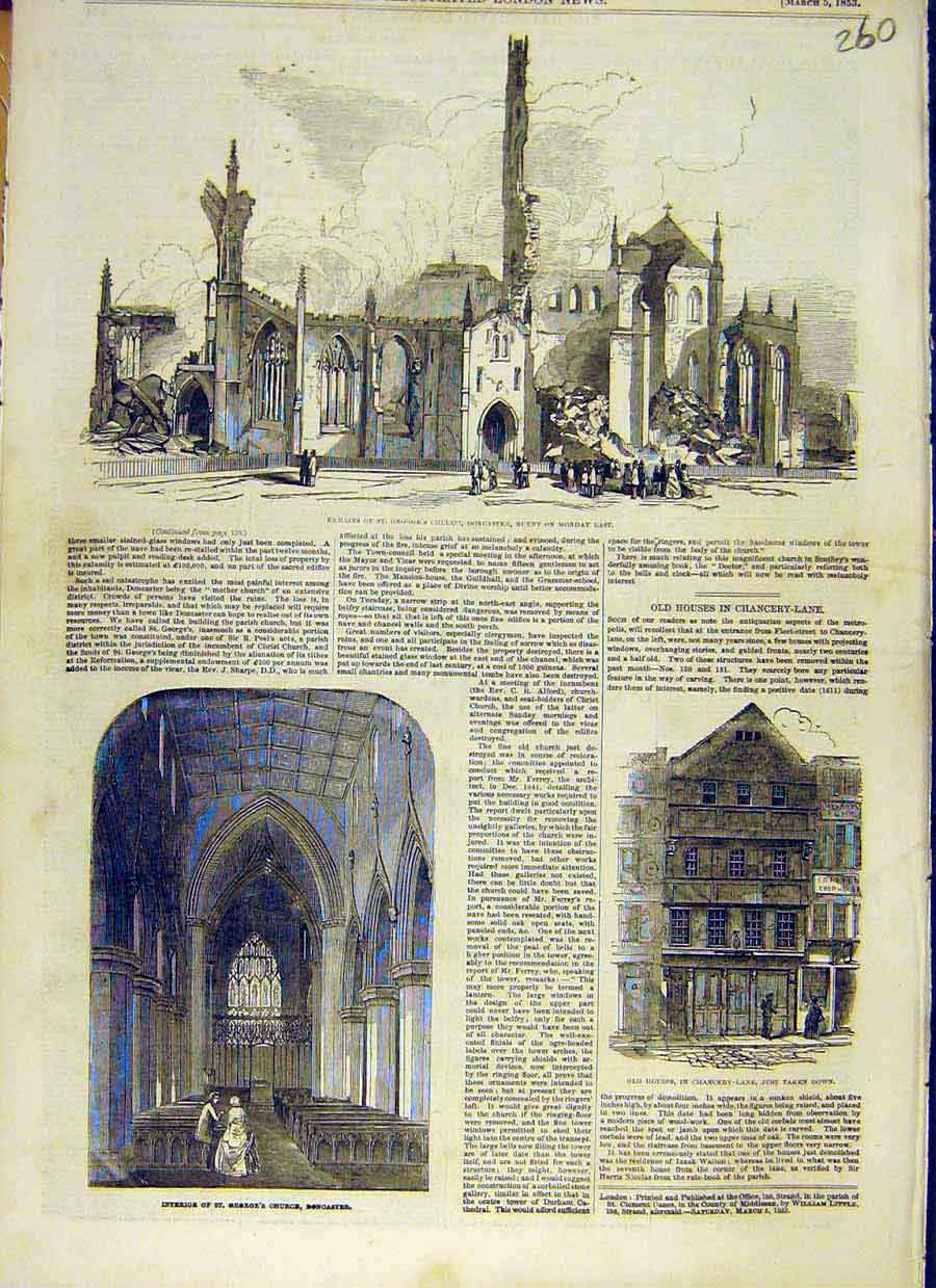 Print Church Doncaster Fire Ruins Building Chancery-Lane 1853 60Ccc0 Old Original