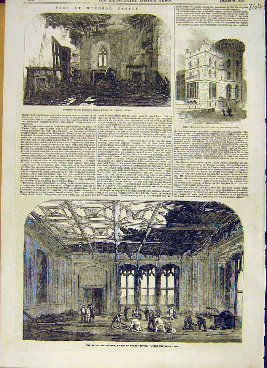 Print Fire Windsor Castle Prince Wales Tower Building 1853 64Ccc0 Old Original