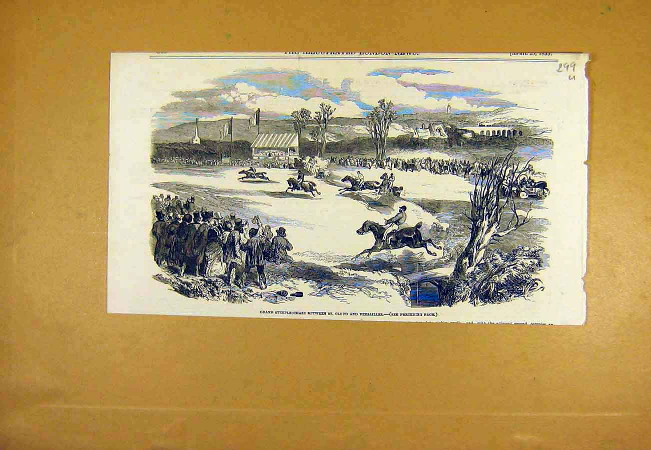 Print Steeple-Chase St. Cloud Versailles Horse-Race 1853 99Uccc0 Old Original